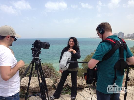 Filming in Jaffa shortly after arriving in TelAviv. I'm wearing yoga pants, a Lucy jacket, and Oboz.